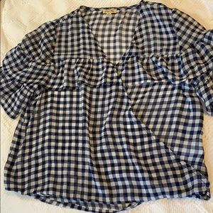 Lily White Navy checked wrap blouse